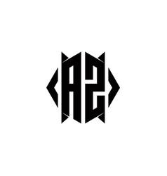 Az logo monogram with shield shape designs vector