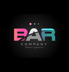 bar b a r three letter logo icon design vector image