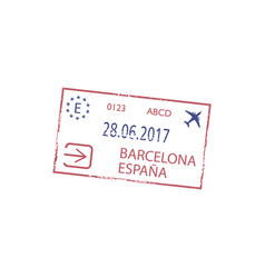 barcelona airport arrival or departure visa stamp vector image