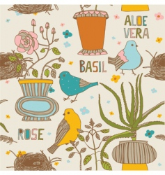 birds and pot plants vector image