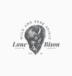 bison label template vector image