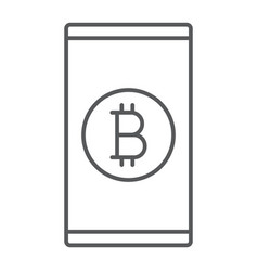bitcoin app thin line icon finance and money vector image