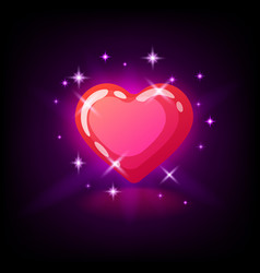 bright pink glossy heart with sparkles slot icon vector image