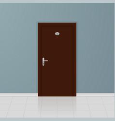 brown wooden door on a gray wall interior design vector image