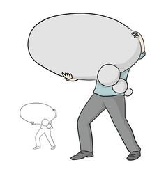 Businessman holding blank thinking balloon speech vector