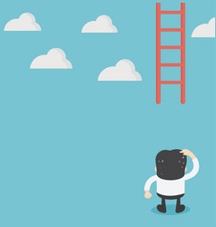 businessman missing ladder climbing upwards vector image