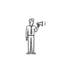 businessman with megaphone hand drawn outline vector image