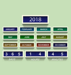 calendar 2018 countdown timer 2018 year and month vector image