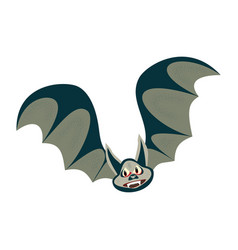 cartoon bat character flying with wings spread in vector image