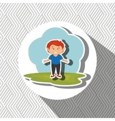 Cartoon boy meadow green vector