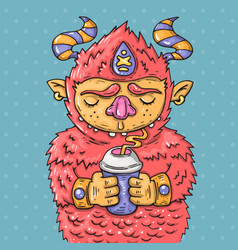 Cartoon monster drinking from a cup vector