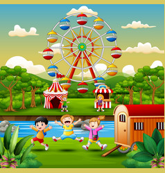 Cartoon of kids having fun at amusement park vector
