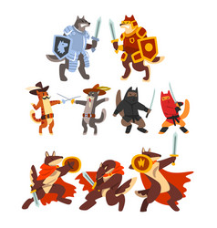 Cats and dogs warriors fighting set knights vector