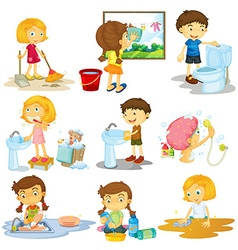 Children doing different chores vector