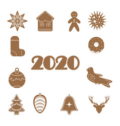 christmas gingerbread set 2020 design icon vector image