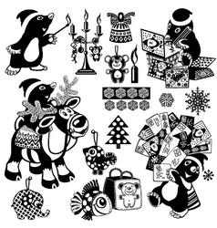 Christmas set with cartoon mole vector image