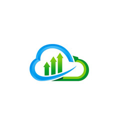 cloud data technology upload logo vector image