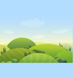 Cloudy blue sky over green hills and green trees vector