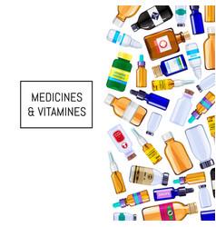 Color pharmacy medicine bottles background vector