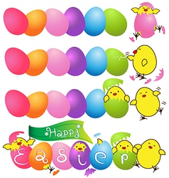 Colorful eggs with funny baby chicken for easter vector