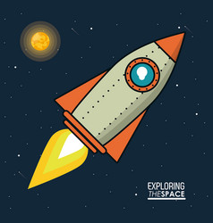 colorful poster exploring the space with spaceship vector image