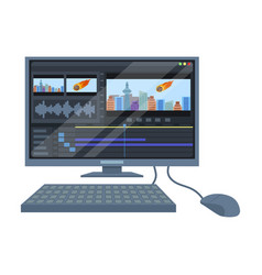 Computer with keyboardmaking movie single icon in vector
