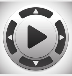 Control button template with play button at center vector