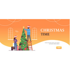 couple decorating christmas tree merry xmas happy vector image