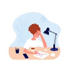 Creative crisis woman doubt feel confusion vector
