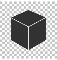 Cube sign Dark gray icon on vector