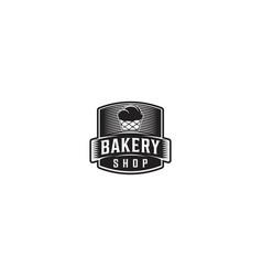 cupcake label vintage bakery logo vector image