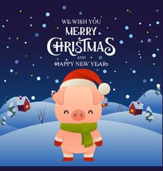 cute cartoon pig in santa claus hat character vector image