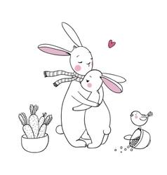 Cute rabbits a basket of carrots and a bird vector