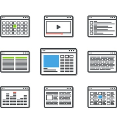 Different web browser icons set vector