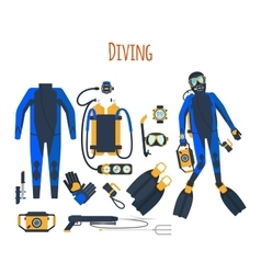 Diving equipment isolated set vector image