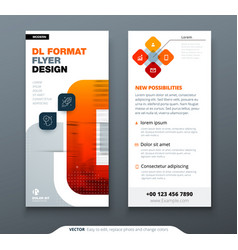 Dl flyer design with square shapes corporate vector