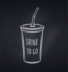 Drinks mug with straw chalkboard style vector