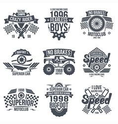 Emblems retro vintage race and super cars vector image