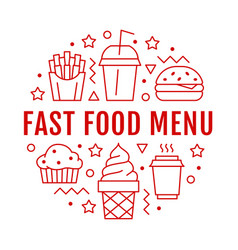 Fast food circle with flat line icons vector