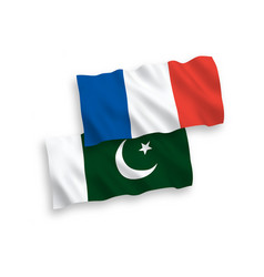 flags france and pakistan on a white background vector image