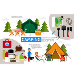 flat camping infographic concept vector image