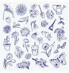 Freehand drawing spring items set vector