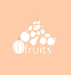 Fruit on a pink background vector