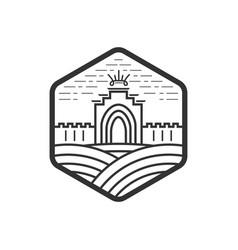 Gate logo design castle medieval landmark vector