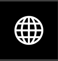 Globe icon on black background black flat style vector