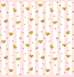 Gold heart seamless pattern pink-white geometric vector