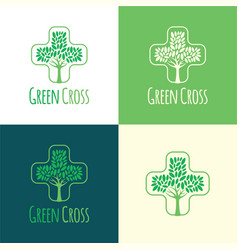 green cross logo and icon vector image