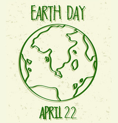 green outline earth day poster vector image