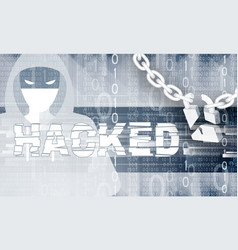 Hacker theme with chain and brocken lock vector