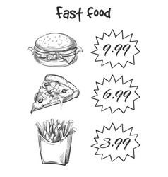 hand drawn fast food menu isolated on white vector image